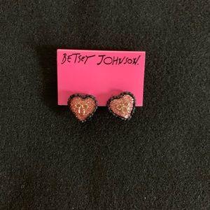 Accessories - New Betsey Johnson Heart Bow Stud Earrings